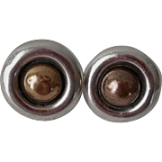 Vintage Pair William Spratling Silver & Bronze Earrings