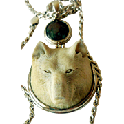 Vintage Wolf Pendant, Carved Bone, Bloodstone, and Sterling Silver