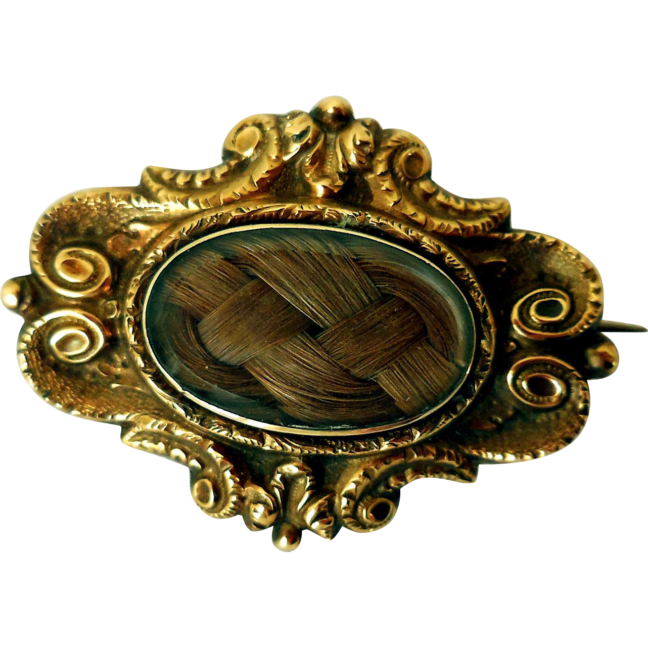 Antique 14K Gold Hair Work Brooch from snatreasures on ...