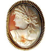 Rare Victorian Carved Shell Cameo, Gold-Filled with Necklace