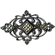 Art Deco Sterling Silver & Marcasite Brooch