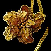 Vintage Necklace, 21K Gold Flower Pendant, 14K Gold Box Chain