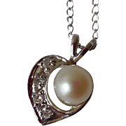 Vintage 14K White Gold Heart Pendant, Diamonds, & Cultured Pearl