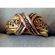 Vintage 14K Yellow & Rose Gold Criss-Cross Ring, Finely Crafted