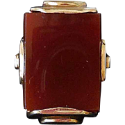 Vintage 14K Gold and Carnelian Ring, Art Deco