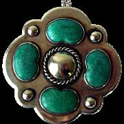 Vintage Large Sterling Silver & Feldspar Pendant Necklace