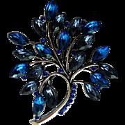 Vintage Blue & Amethyst Rhinestone Brooch