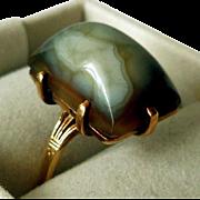 Antique Arts & Crafts Era 14K Gold & Montrose Agate Ring