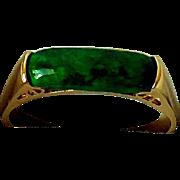 Vintage 14K Yellow Gold, Malachite Ring