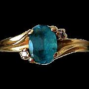 Vintage 14K Yellow Gold, Blue Topaz, Diamonds Estate Ring