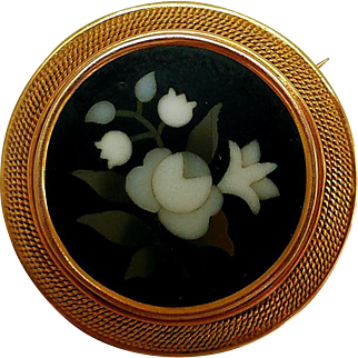 Antique Pietra Dura Brooch, 10K Gold Setting