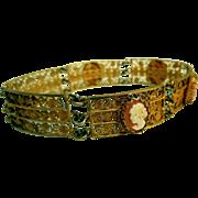 Vintage .800 Silver Bracelet, Carved Cameos, Gold Wash