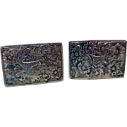 Bright-Cut .800 Silver Cuff Links, Early 20th C