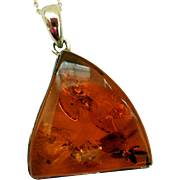 Vintage Sterling Silver and Amber Pendant, Sterling Chain