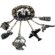 Vintage Chatelaine Charm Brooch, Maritime & Travel Theme