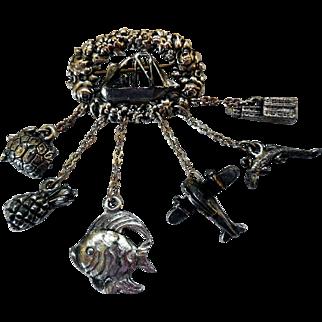 Vintage Chatelaine Charm Brooch, Maritime & Travel Theme