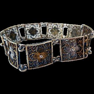 Vintage .800 Silver Filigree Bracelet, 1920s