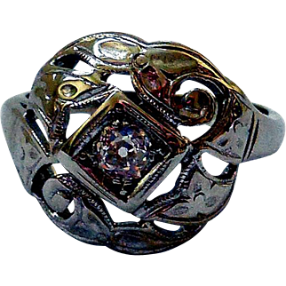 Vintage 14K White Gold, Stainless Steel & Diamond Ring, Edwardian