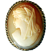 Edwardian Carved Shell Cameo, Gold-Filled, Unusual Detail