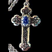Vintage Silver-Tone Cross, Set with Porcelain Cabochon