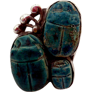 Vintage Rare Sterling Silver and Scarab Ring, 3 Scarabs!