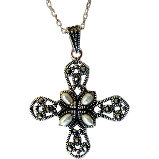 Vintage Sterling Silver Cross Pendant, Marcasites & Fresh Water Pearls, Sterling Chain