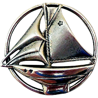 Vintage Sterling Silver Sailboat Pin by Beau