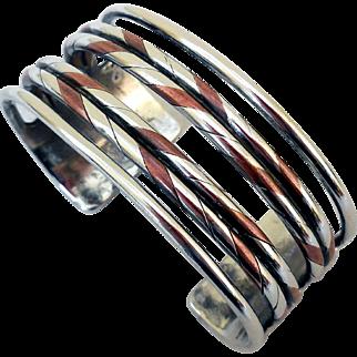 William Spratling Sterling Silver, Copper, Cuff Bracelet, 1940s