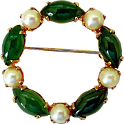 Vintage 1960s Circle Pin by Sorrento, Jade, Pearls, Gold-Filled