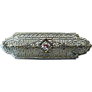 Edwardian 14K White Gold, Diamond Filigree Brooch