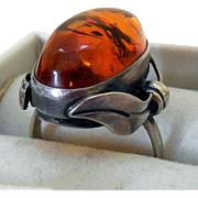 Art Nouveau Baltic Amber Sterling Silver Ring