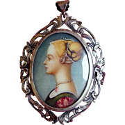 Vintage Hand-Painted Portrait Brooch in .800 Silver