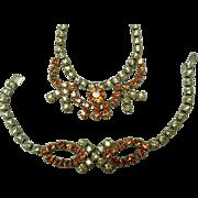 Mid-Century Rhinestone Necklace & Bracelet Set