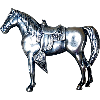 Early 20th Century Sterling Silver Horse Pin