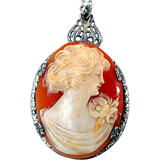 Edwardian Carved Shell Cameo, Sterling Necklace