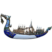 Vintage Siam Silver Enameled Boat Pin