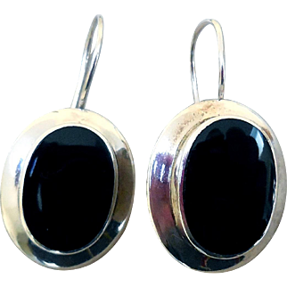 Vintage Sterling Silver and Onyx Earrings