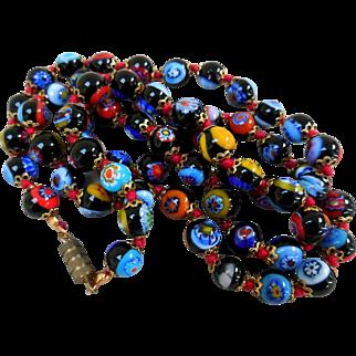 Vintage Italian Millifiore Beads Art Glass Necklace