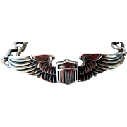 WWII Army Air Force Pilot Wings Sweetheart Sterling Bracelet