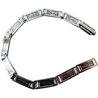 Early Sterling Silver Link Bracelet, Forget-Me-Not