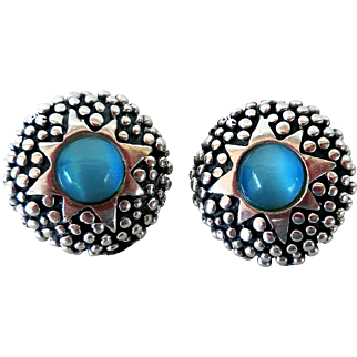 Vintage Sterling Silver Earrings, Irridescent Blue Glass, Mexico
