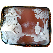 Antique Rebecca At The Well Carved Shell Cameo, Gold Filled