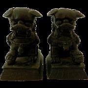 Antique Pair Bronze Foo Dogs, Miniatures