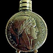 Vintage .800 Silver Perfume Bottle, Franc Love Token