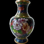 Vintage Cloisonne Vase, Enamel on Brass