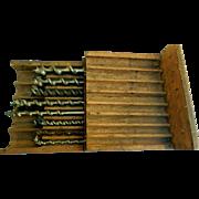 Antique Cast Steel Twist Auger Bits Set, James Swan Co., Ca 1880