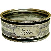 "Coin Silver Napkin Ring, Engraved ""Ella"""