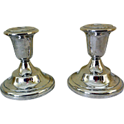 Pair Mid-Century Sterling Silver Candleholders