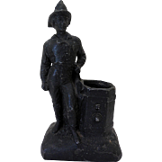 19th C Spelter Figural Fireman Match Holder Safe