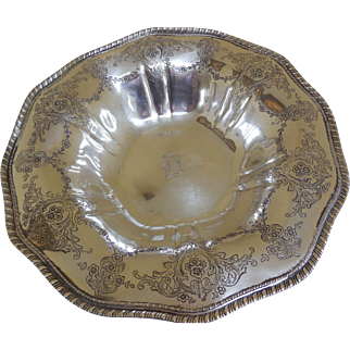 Sterling Silver Bowl, Hand-Chased, 10 Inches, by Frank M. Whiting